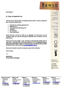 Job Applications Cover Letter - Charity Job Finder
